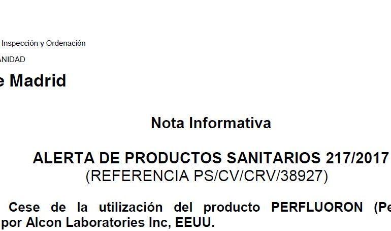 Alerta Sanitaria: Cese de la utilización del producto Perfluoron