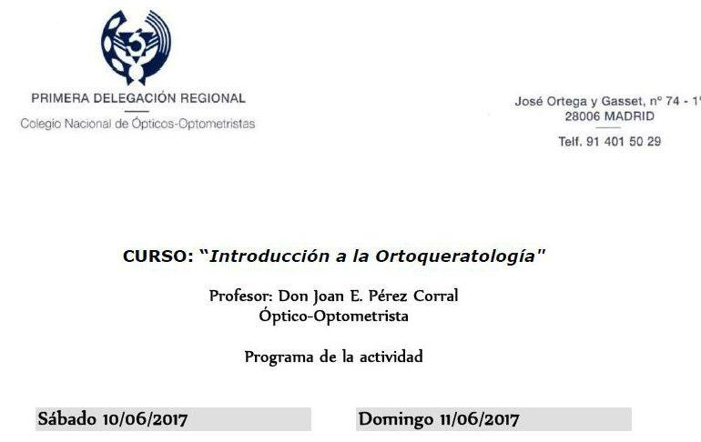 Curso de Introducción a la Ortoqueratología en Badajoz