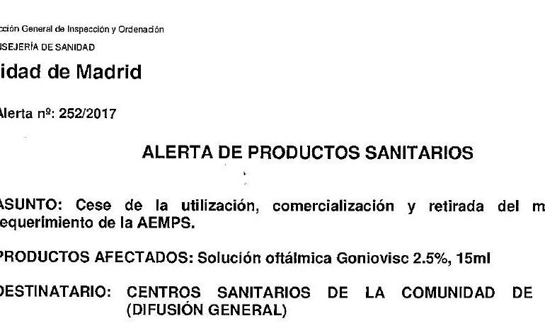 Alerta Sanitaria: Retirada del Mercado de la Solución Oftálmica Goniovisc