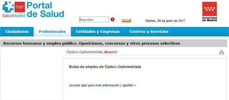 Bolsa de empleo temporal de Óptico-Optometrista en SERMAS
