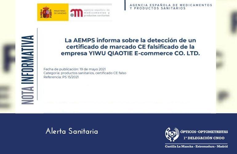 Alerta Sanitaria: detección de un certificado de marcado CE falsificado